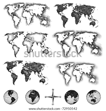 World map design elements. Pixels, lines, doodle & halftone. Four views of the sketch globe and compass available also. - stock photo