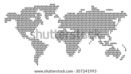 world map digital pattern illustrator white background - stock photo