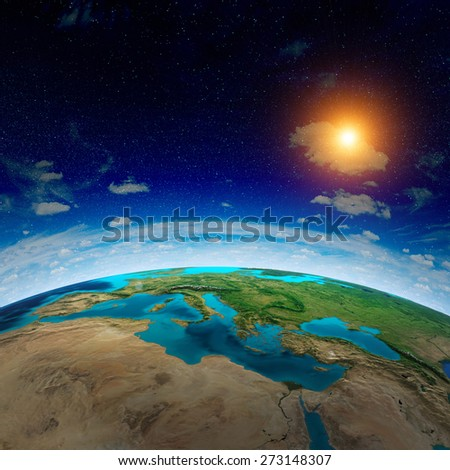 World map. Elements of this image furnished by NASA - stock photo