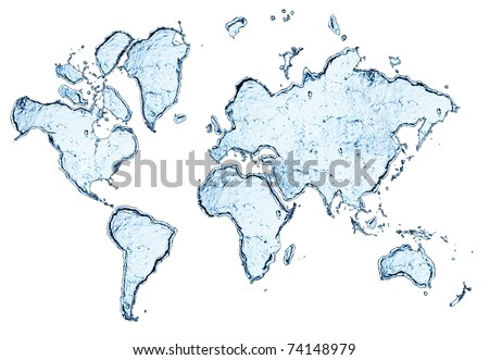 world map from water splashes isolated on white - stock photo