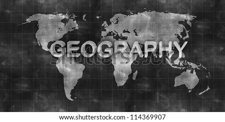 world map geography draw on chalkboard - stock photo