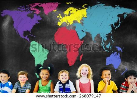 World Map Global International Globalization Concept - stock photo