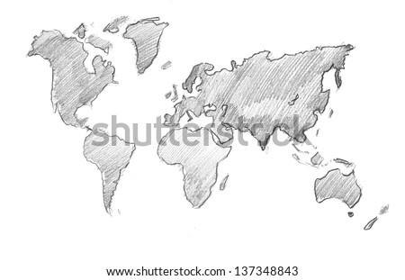 World Map Globe - pencil drawing - stock photo