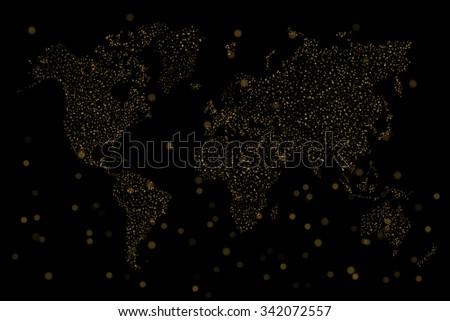 World map ,Golden Bokeh on black background - stock photo