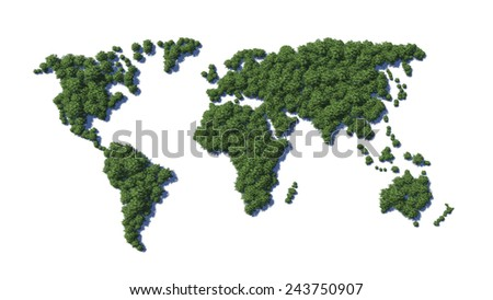 World map. Green earth on white background. - stock photo