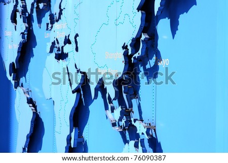 world map in blue - stock photo
