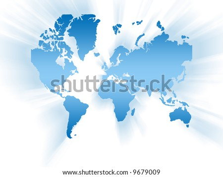 World map in blue color - stock photo