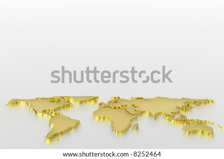 World map in gold - stock photo