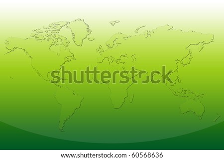 World Map in green color - stock photo