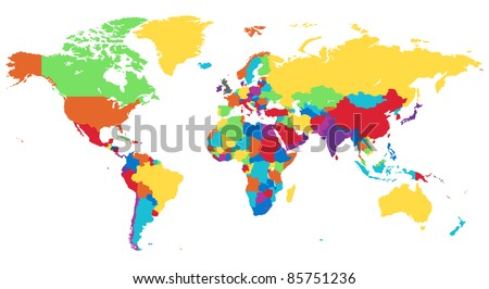 World map in rainbow colors. - stock photo