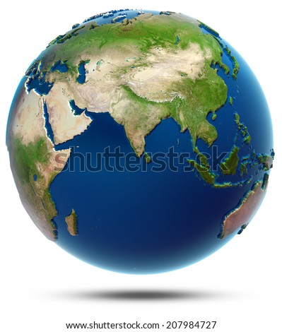 World map - Indian Ocean. Elements of this image furnished by NASA - stock photo