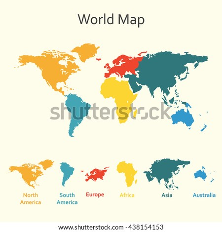 World map infographics. Template of world map with continents. - stock photo