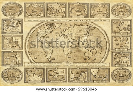 World map. Ink on paper. - stock photo