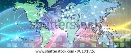 World Map interconnected by wire (Fiber Optics) of the information. Concept of global information and technology of communication. - stock photo