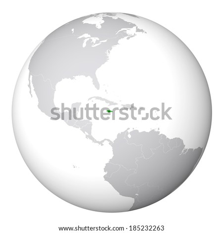 World Map - Jamaica - stock photo
