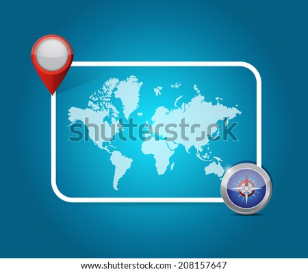 world map location destination illustration design over a blue background - stock photo
