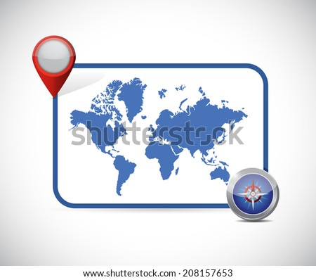 world map location destination illustration design over a white background - stock photo