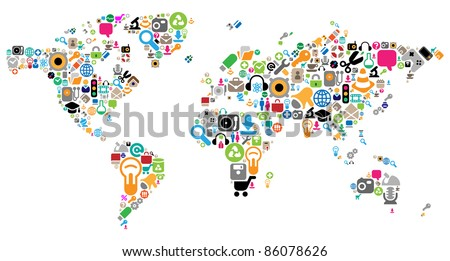 World map made of internet and computer icons. Raster version. Vector version is also available. - stock photo