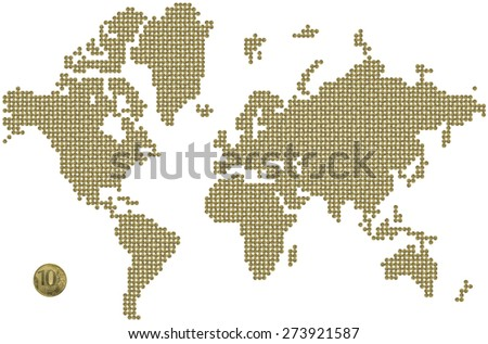 world map made out of coins - stock photo