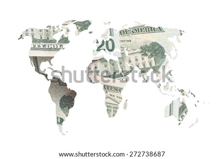 world map made with torn dollar bills isolated on white. - stock photo
