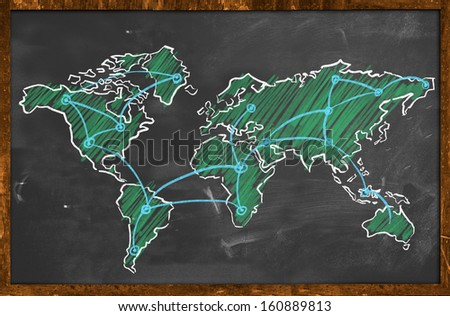 World map networking green chalk wallpaper - stock photo
