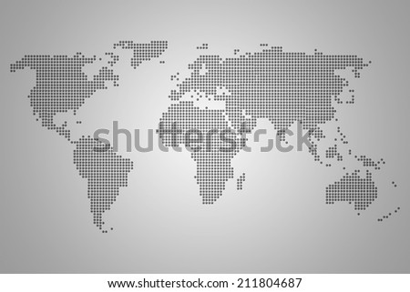 World Map of continents, dotted, gray, on gray background - stock photo