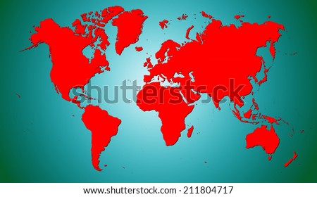 World Map of continents with shadow, red on cyan background - stock photo