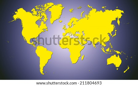 World Map of continents with shadow, yellow on navy blue background - stock photo