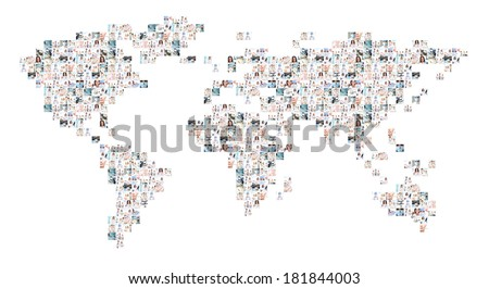 World map of many different medical elements with a doctors working in hospital. Global medicine and international pharmaceutical business concept. - stock photo