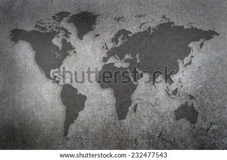 world map on a chalkboard - stock photo