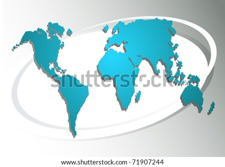 World map on a grey background - stock photo