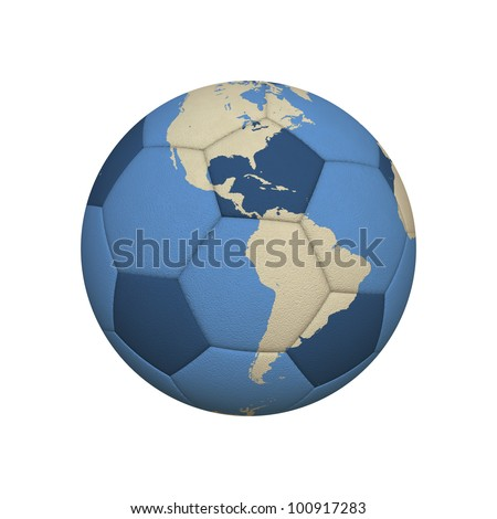 World Map on a Soccer Ball Centered on American Continent (jpeg file has clipping path) - stock photo