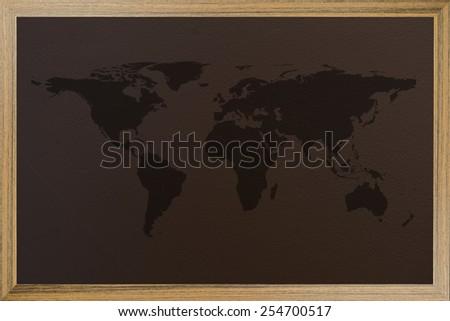 world map on blackboard - stock photo