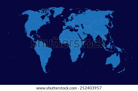 World map on blue background - stock photo