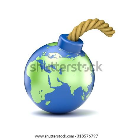 World map on bomb. 3D illustration isolated on white background - stock photo