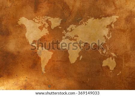 World map on bronze background - stock photo