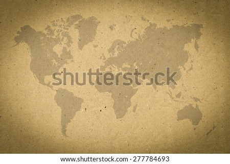 world map on brown paper - stock photo