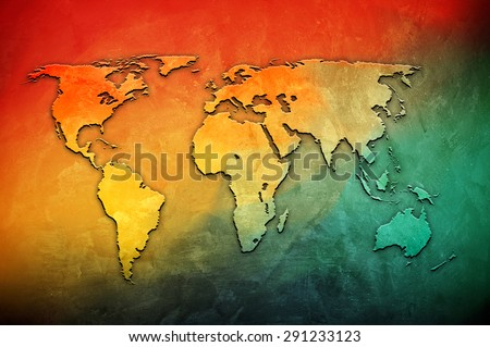 world map on colorful background - stock photo