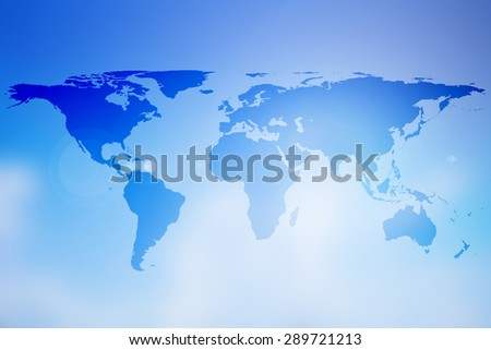 world map on colorful blurred gradient blue sky background:abstract backdrop picture with silhouette land of global concept:travel and journey board concept:blur topography display transportation. - stock photo