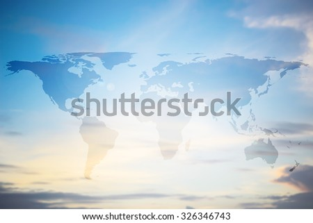World map on colorful blurred morning sky climate backgrounds.blurred early morning wallpaper.blurry backdrop concept.pastel cool tone:worldwide business community connection conceptual:communication - stock photo