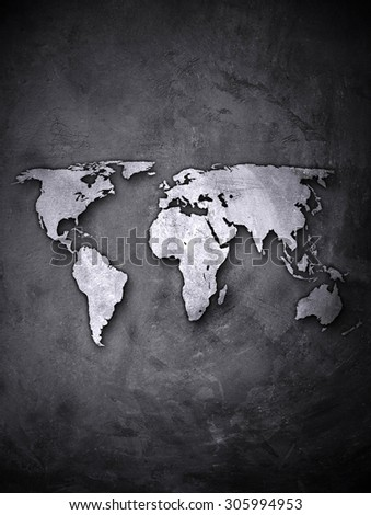 world map on concrete wall - stock photo