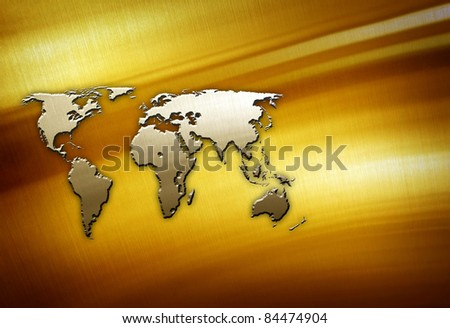 world map on golden plate - stock photo