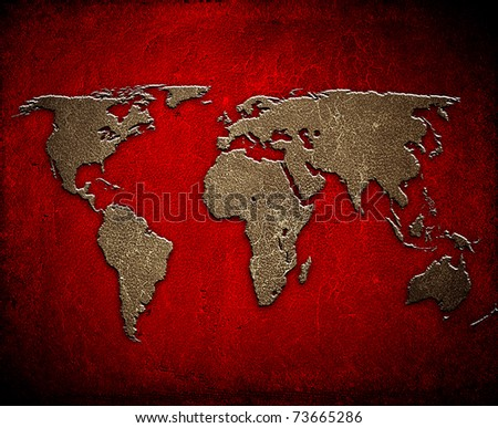 world map on leather background - stock photo