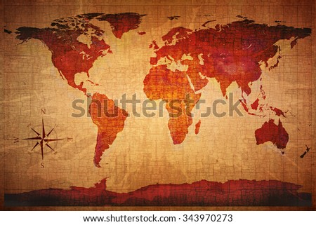 World Map on old grungy antique and yellow cracked paper background (Map derived from NASA image http://visibleearth.nasa.gov ) - stock photo