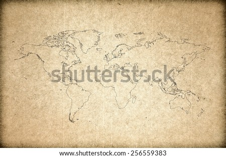 world map on old paper - stock photo
