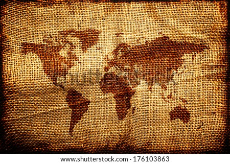 World map on sack texture. Old trading business concept. - stock photo