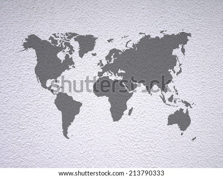 World Map on the white wall background. - stock photo