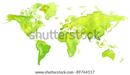 World map painted with watercolors in green color - stock photo