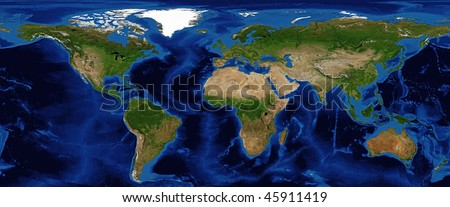 World Map Shaded Relief with Bathymetry and snow cover in Summer Data Source: NASA - stock photo