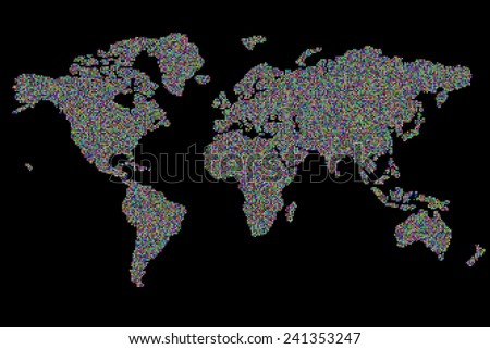 world map 19330 square pixels random colored - stock photo